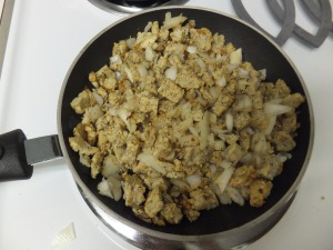 Sauteing the tempeh and onions