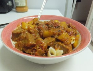 soy sausage and peppers over penne vodka